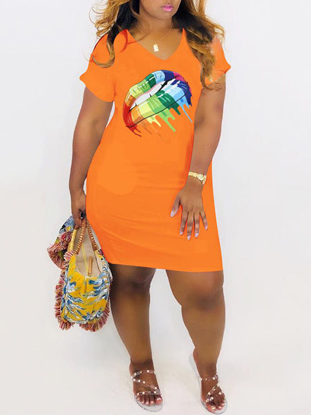 Plus Size V-Neck Lip Print Mini Dress