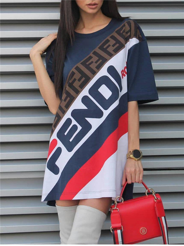 Short Sleeve Letter Print Casual Mini Dress