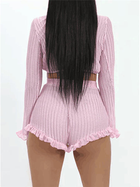 Fungus Edge Long Sleeve Sexy Two Piece Sets