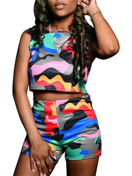 Camouflage High Waist Sleeveless Two Piece Sets