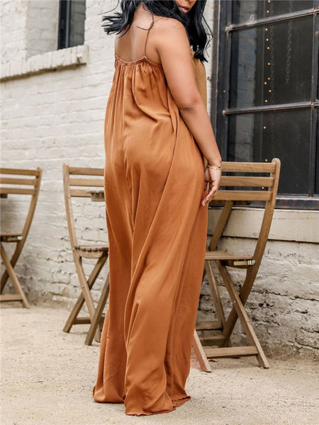 Solid Color Spaghetti Straps Wide Leg Jumpsuit