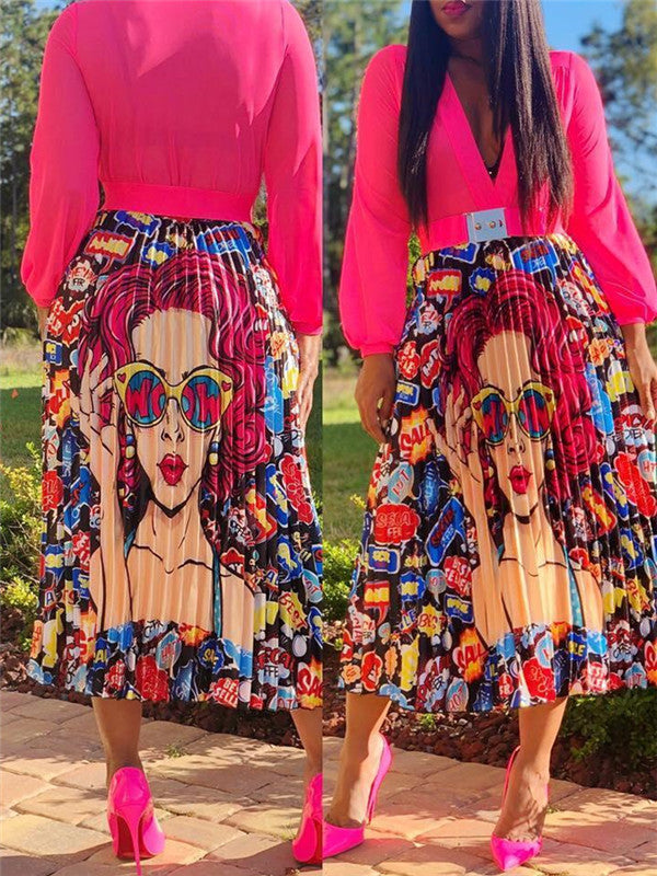 High Waist Cartoon Print Pleated Skirt