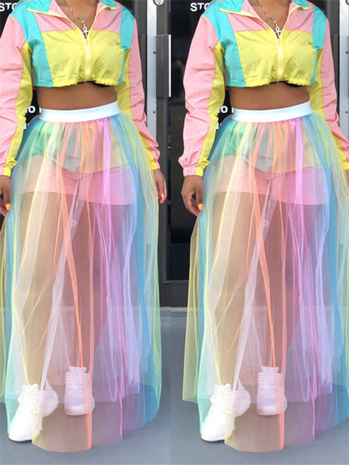Rainbow Color See Through Mesh Skirt