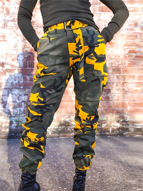 Camouflage Print Pocket Casual Pants With Belt