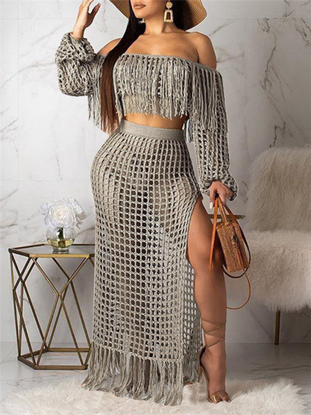 Hollow Out Off the Shoulder Tassels Two Piece Dress