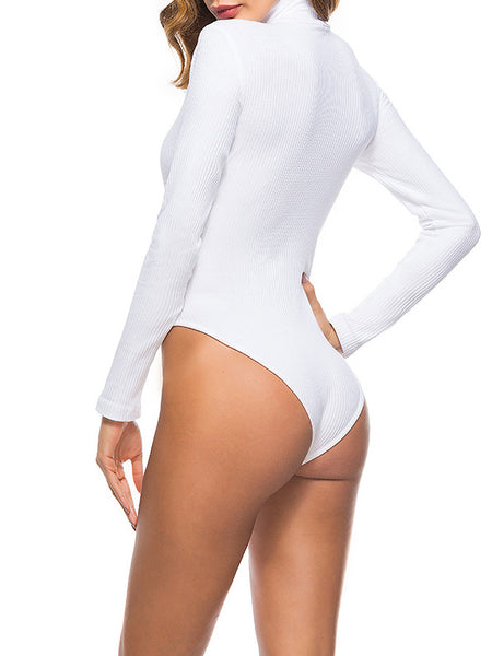 Solid High Neck Rib Long Sleeve Romper