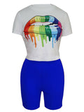 Casual Colorful Lip Print Short Sleeve Top & Shorts