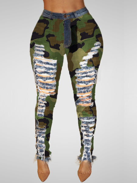 Camouflage Printed Hole Distressed Skinny Pants