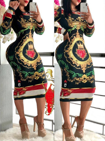 Fashion Long Sleeve Print Midi Dress