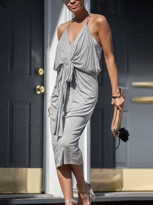 Solid V-neck Slip Midi Dress