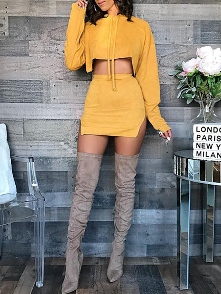 Solid Casual Two Piece Mini Dress