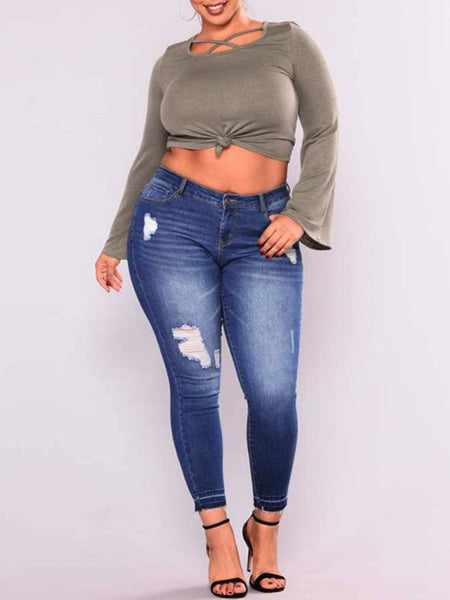 4e0355b1b33 Plus Size Fashion Casual Denim Ripped Jeans – ForeverShe