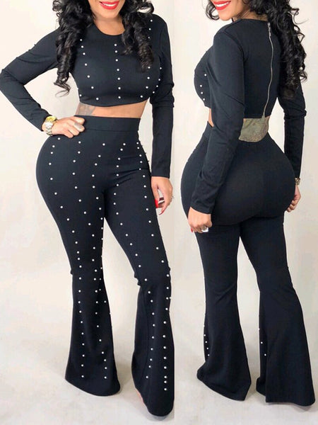 Fashion Long Sleeve Top & Flare Pants