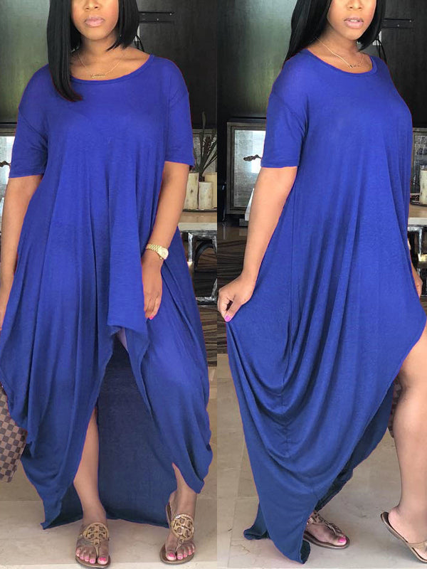 Solid Casual Irregular Maxi Dress