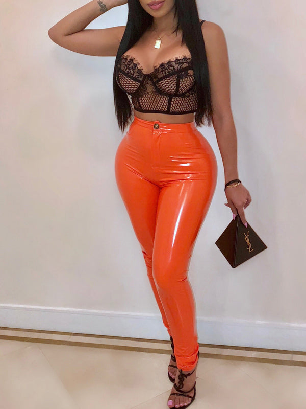 Sexy Solid Color PU Club Pants