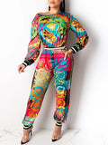Patchwork Print Long Sleeve Top & Pants