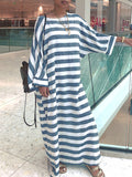 Casual Stripe Print Long Sleeves Maxi Dress