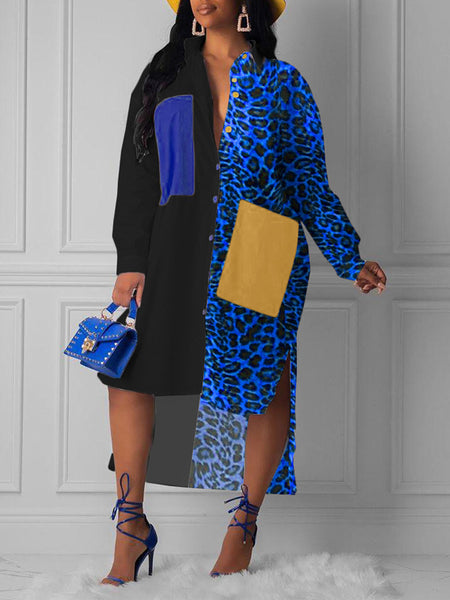 Leopard Print Color Block Asymmetric Hem Dress