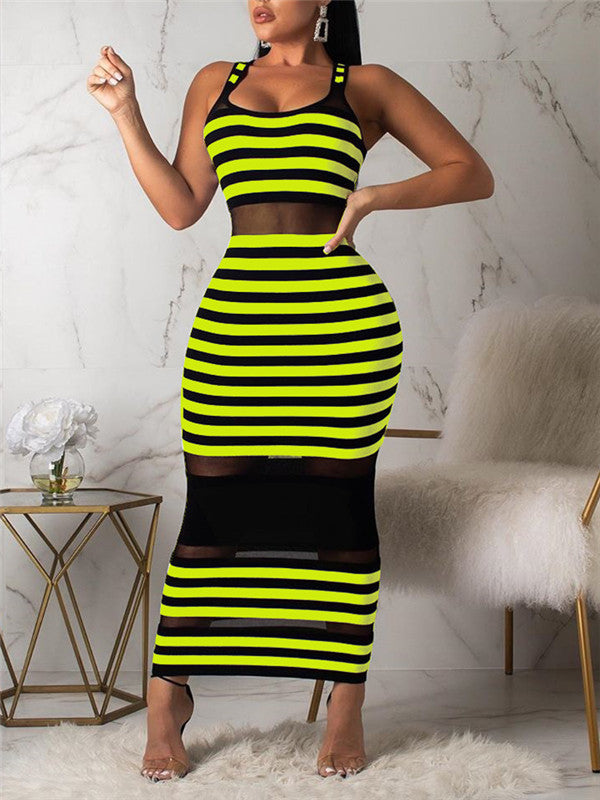Mesh Panel Stripe Print Sleeveless Dress