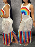 Rainbow Color Pierced Tassels Maxi Dress