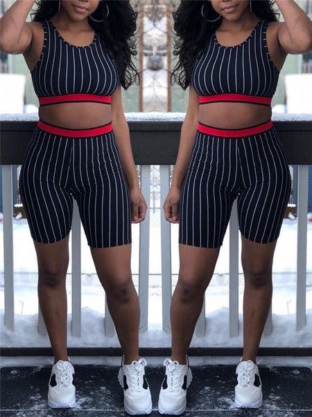 Stripe Print Sleeveless Two Piece Outfits
