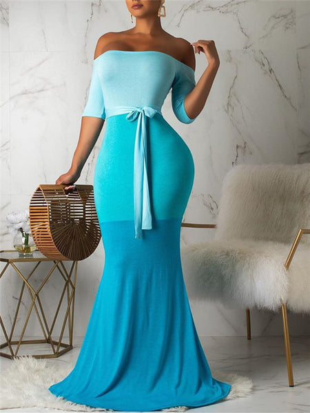 Color Block Off the Shoulder Maxi Dress