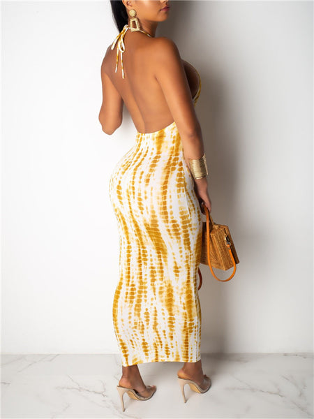 Tie Dye Open Back Sleeveless Maxi Dress
