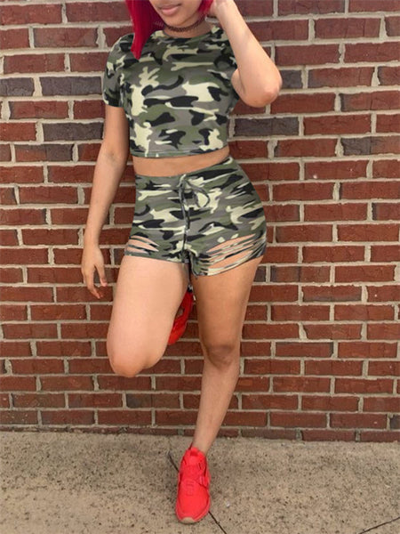 Camouflage Print Distressed Two Piece Outfits
