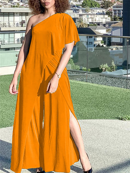 Off The Shoulder Button Solid Color Dress