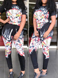 Digital Print Bnadage Short Sleeve Casual Two Piece Sets