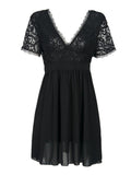 V-neck Black Lace Mini Dress