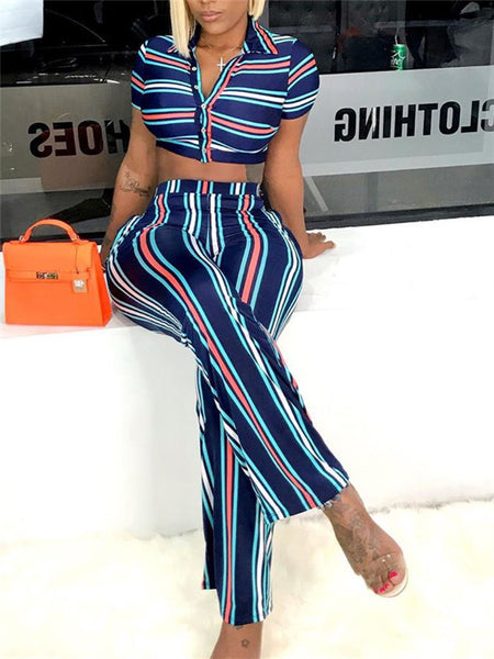Short Sleeve Stripe Print Two Piece Sets