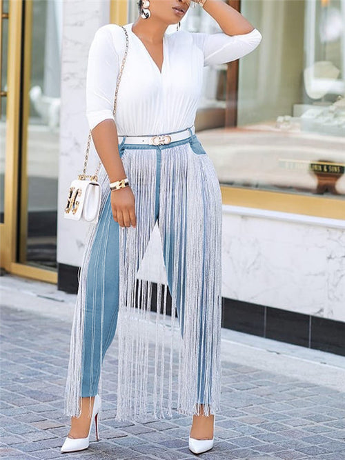 High Waist Tassels Decor Jeans