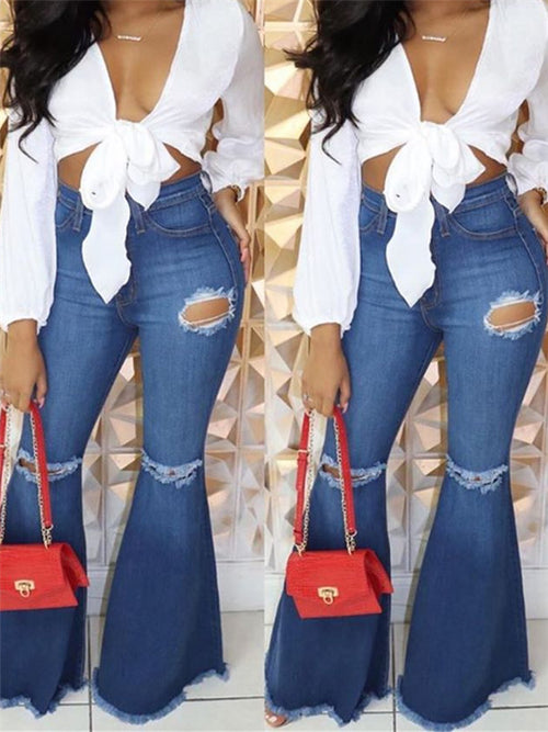 High Waist Distressed Flare Jeans