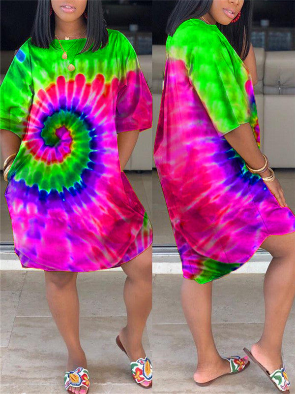 Tie Dye Plus Size Pocket Casual Dress