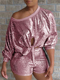 Tie Up Skew Neck Sequined Two Piece Sets