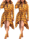 Asymmetric Hem Plaid Print Casual Dress