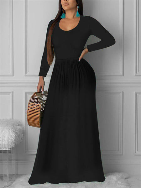 Long Sleeve Solid Color Casual Maxi Dress