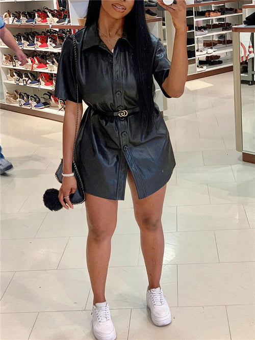 Button Up Short Sleeve PU Mini Dress