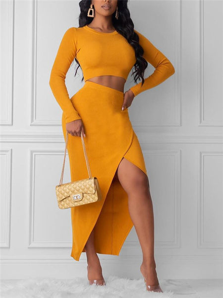 Solid Color High Low Two Piece Dress