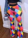 Colorful Geometry Digitai Print Casual Pants