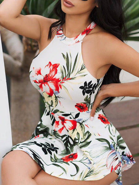 Fashion Print Sleeveless Backless Romper