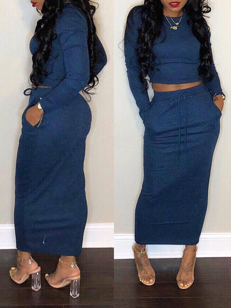 Casual Pocket Solid Two Piece Maxi Dress