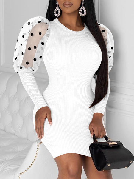 Polka Dot Puff Sleeve See-through Mini Dress