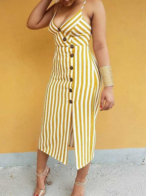 Bandage Hollow Out Sleeveless V-neck Midi Dress