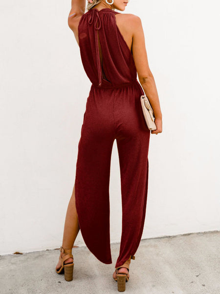 Sexy Solid V-neck Backless Sleeveless Jumpsuit