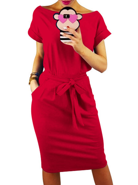 Casual Solid Boat Neck Bandage Short Sleeves Midi Dress