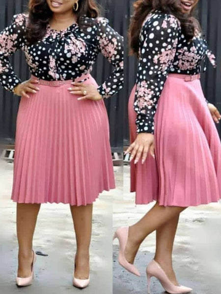 Plus Size Print Long Sleeve Pleated Dress With Belt