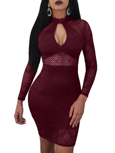 Sexy Solid Lace Hollow Out Midi Dress
