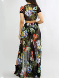 [Special Sale]Mesh Split Print Two Pieces Dress